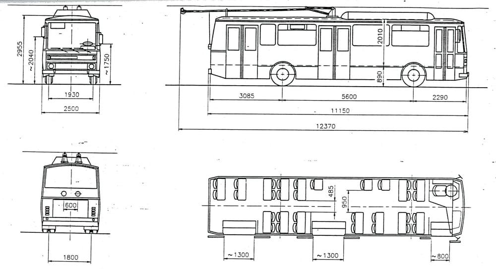 Původní nákres řešení trolejbusu Tatra T 404 z roku 1991 postaveného na platformě vozů Karosa řady B 730. (zdroj: archiv DP Praha)