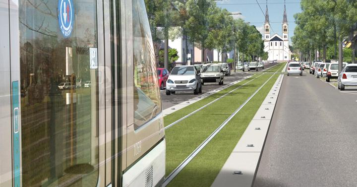 Nový úsek linky A ve městě Illkirch-Graffenstaden je řešen jako částečně jednokolejný, jak ukazuje také tato vizualizace. (zdroj: http://www.illkirch-graffenstaden.fr)