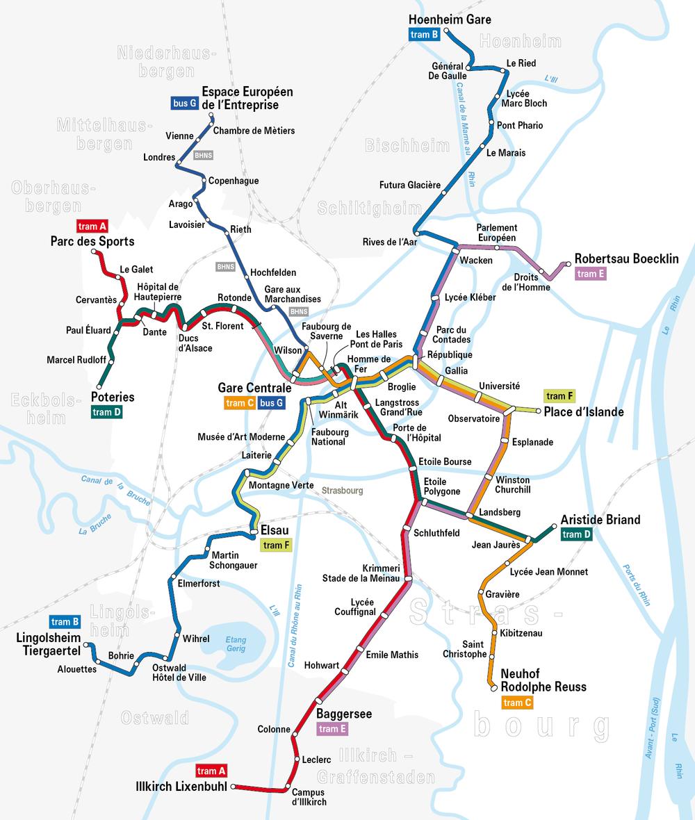 Plán tramvajových tratí ve Strasbourgu ještě bez zaznačeného prodloužení linky A. (zdroj: Wikipedia.org)