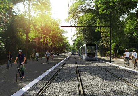 Vizualizace tramvajové tratě ve městě Lund. (zdroj: www.lund.se)