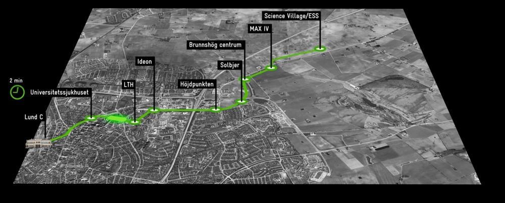 Navrhovaná trať první linky tramvaje ve švédském Lundu. (zdroj: www.lund.se)