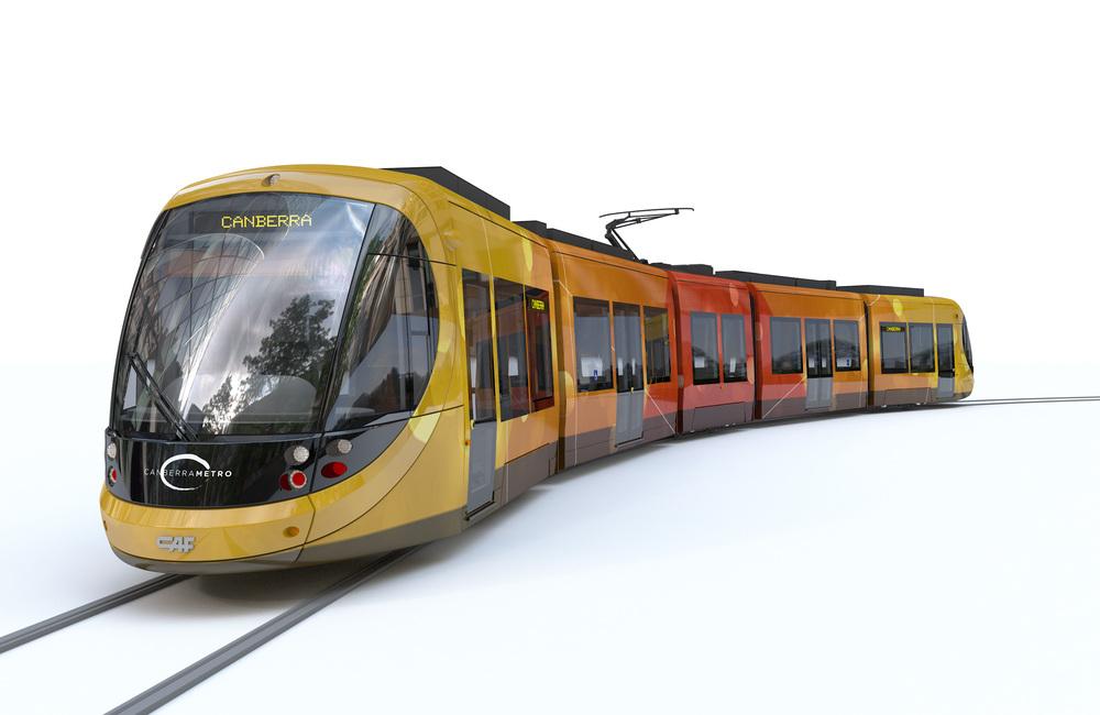 Vizualizace tramvaje CAF URBOS pro hlavní město Austrálie. (zdroj: CAF)