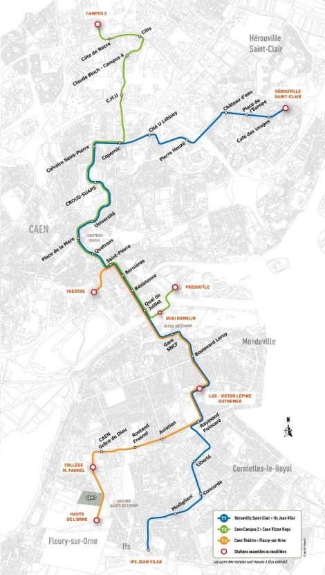 Aktuální představa města o vedení nových tramvajových tratí ve městě. Tři linky by měly být postupně zprovozněny od roku 2019. Vizualizace provozu klasických tramvají v Caen. (zdroj: http://www.tramway2019.com/)