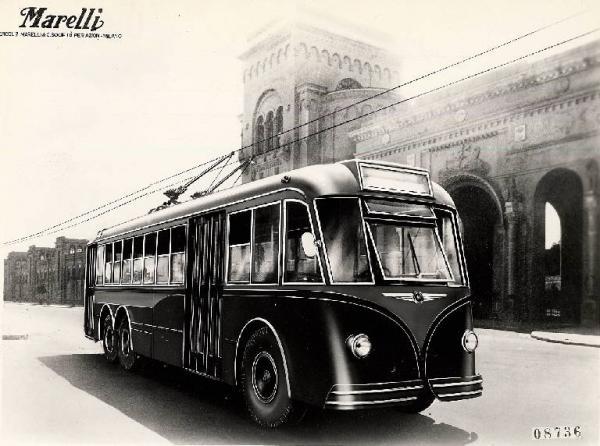 Trolejbus Fiat 668F/131 ze série vozů ev. č. 401-406 z roku 1949 na propagačním snímku výrobce elektrické části Marelli. (zdroj: Wikipedia.org)