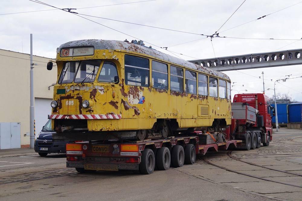 Vůz ev. č. 685 po příjezdu do Brna. (foto: Jakub Svoboda)