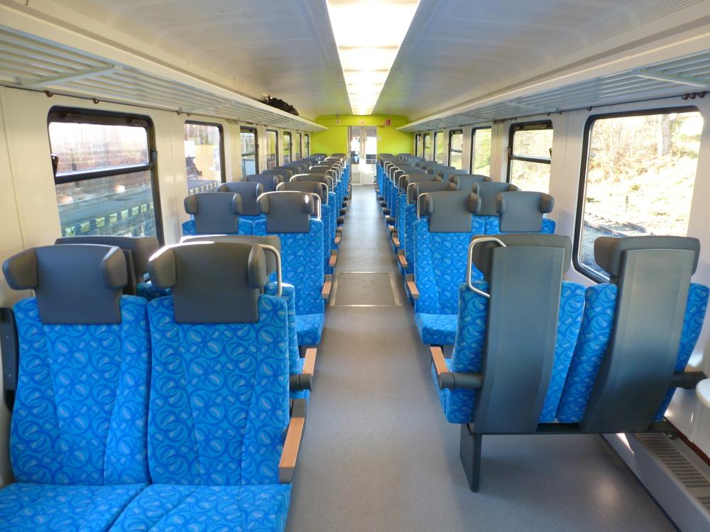 Interiér jednotky řady 845 po modernizaci v Pars nova. (foto: Arriva)