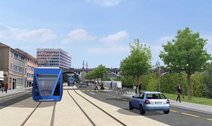 Vedle výstavby tramvajové tratě by měl být výrazně upraven také veřejný prostor. (zdroj: www.lausanne.ch)