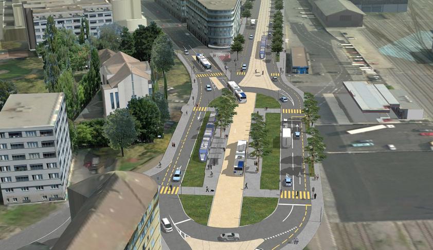 Návrh jednoho z přestupních terminálů s průjezdem pro autobusy. (zdroj: www.lausanne.ch)