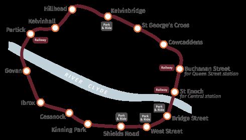 Jediná linka již od roku 1896 - to je metro v Glasgow. (zdroj: Wikipedia.org)