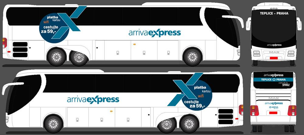 Na lince Praha - Teplice budou sloužit autobusy MAN. (zdroj: Arriva)