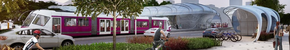 Ve vizualizaci města Lusail se objevuje upravené provedení tramvaje Škoda 19T pro Wrocław. (zdroj: http://www.qr.com.qa)