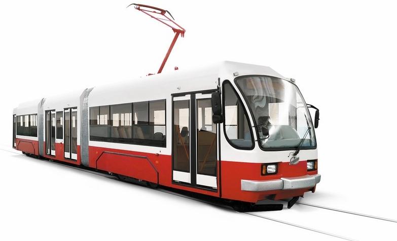 Tramvaj 71-409 je řešena jako tříčlánková, avšak její délka činí pouhých 21,3 m. (zdroj: Uraltransmash.ru)