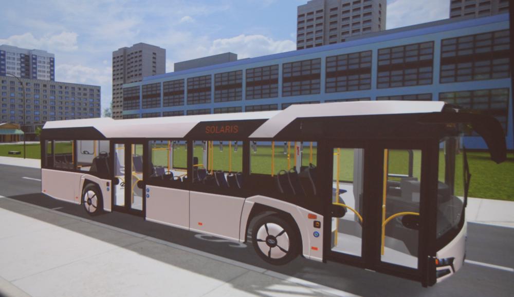 Na první pohled by se mohlo zdát, že se pohybujeme v prostředí nějaké počítačové hry. Autobus však slouží jako model pro volbu nejvhodnějšího barevného řešení. (foto: Libor Hinčica)