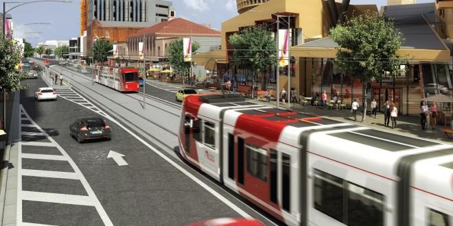 Na vizualizacích po celém světě se s oblibou objevují škodovácké tramvaje s designem od firmy Porsche. Skutečná vozidla však do Austrálie dodá španělský CAF. (zdroj: www.visitnewcastle.com.au)
