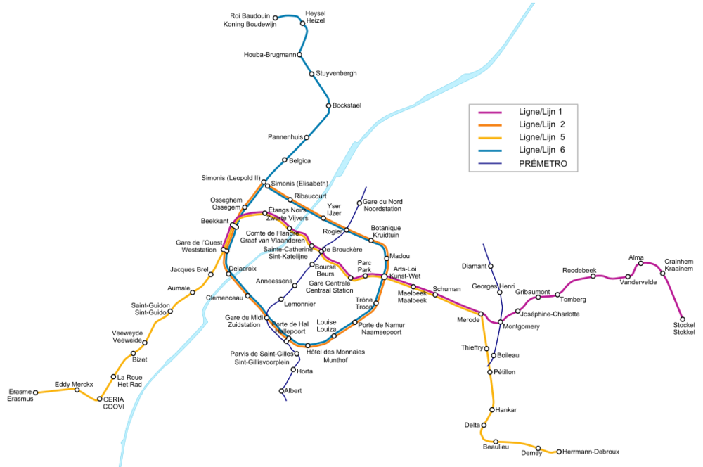 Síť metra v Bruselu včetně zaznačení tras tzv. prémetra (podpovrchové tramvaje). (zdroj: Wikipedia.org)