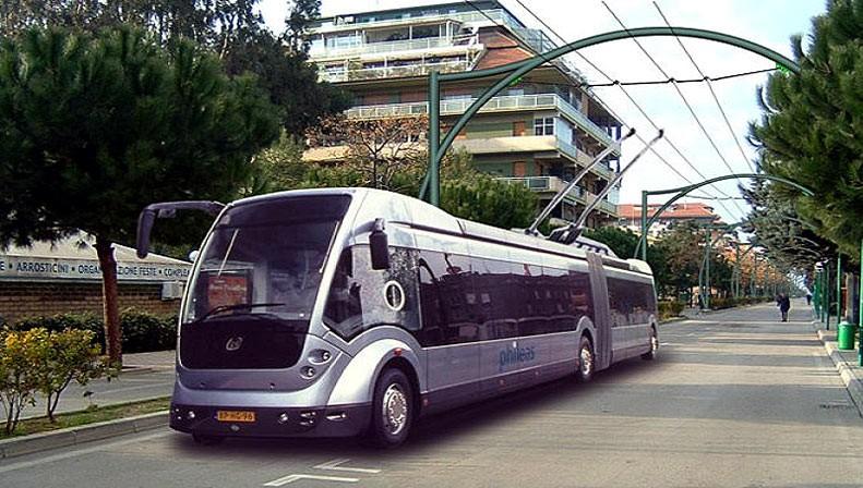 Vizualizace trolejbusu Phileas na trati v Pescaře. Holandský producent ovšem vozidla nakonec nedodal. (zdroj: Wikipedia.org)