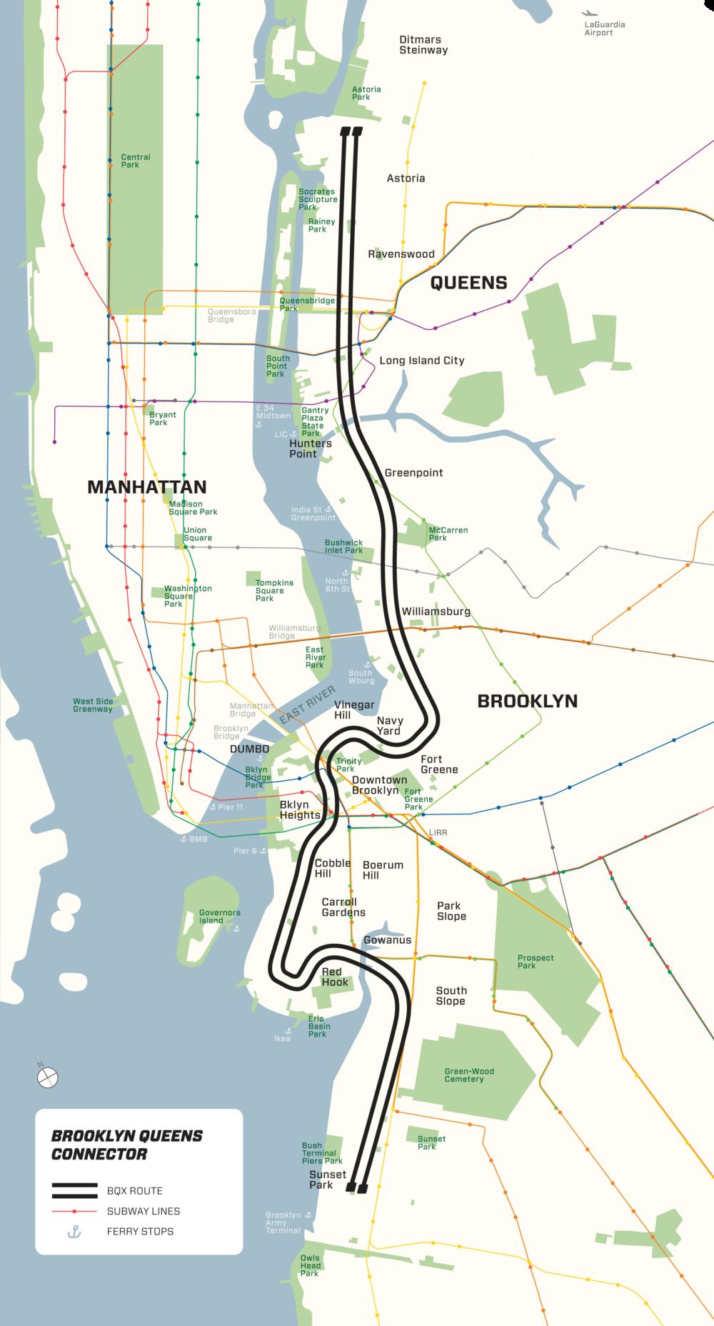 Ambiciózní plán nové tramvajové trati rovněž počítá s napojením části Red Hook. Značně tak kopíruje původní plán spolku BHRA. (zdroj: BQX)