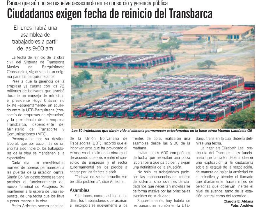 Novinový článek z 10. února 2012 je doprovázen snímkem trolejbusů, které byly seřazeny na tamní vojenské letecké základněBase Aérea Teniente Vicente Landaeta Gil. (zdroj: El Impulso)
