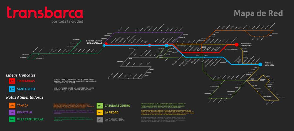 Systém Transbarca byl uveden do komerčního provozu dne 14. září 2013.Dvě kmenové linky byly doplněny o síť linek konvenčních, zvaných napájecích. (zdroj:Transbarca)