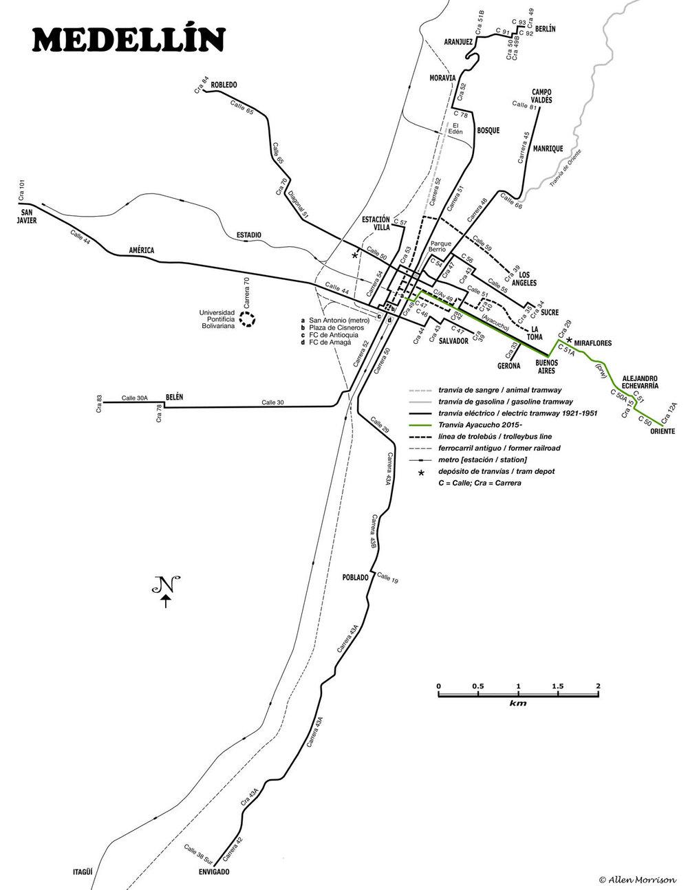 Přehledná mapa zobrazuje jak tratě, na kterých operovala koňka, tak i ty, na kterých byly k vidění tramvaje poháněné elektřinou či benzínem. Stejně tak je možné zjistit přesnou pozici dnešní tramvaje na pneumatikách, ale i místa, kterými se proháněly trolejbusy, či vlaky. Rovněž je zachycena pozice metra.(autor: Allen Morrison)