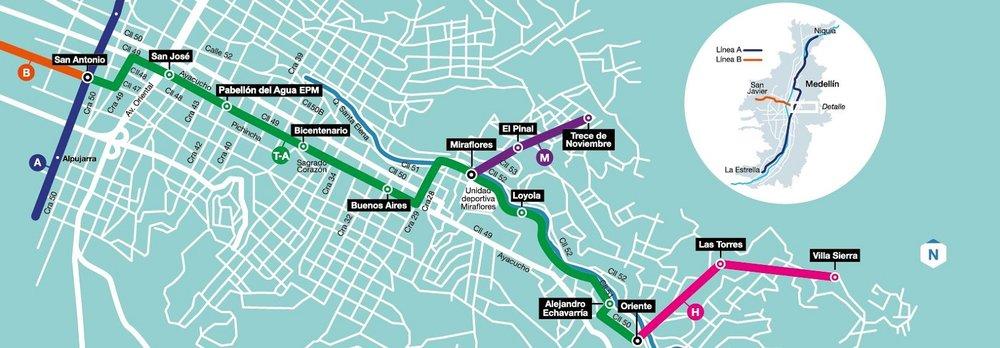 Na tramvaj na pneumatikách navážou v brzké době i dvě nové lanové dráhy, které se právě dokončují. (zdroj: Alcaldía de Medellín)