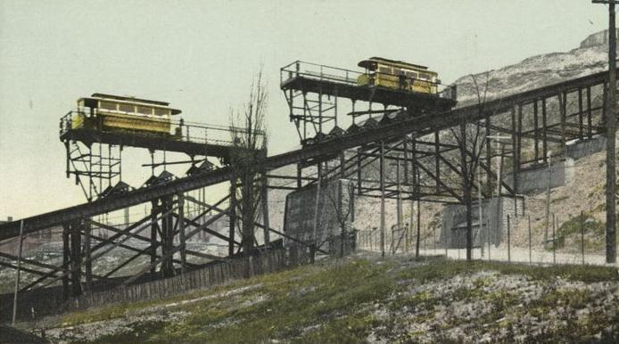 Neobvyklou atrakcí byly speciální lanové dráhy pro tramvaje. Díky této technologii bylo možné zdolávat náročná stoupání. (zdroj: Wikipedia.org)
