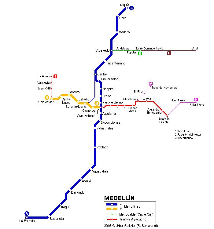 Mapa drážní dopravy v Medellínu. Leckterájihoamerická velkoměsta by mohla závidět... (zdroj: UrbanRail.Net)