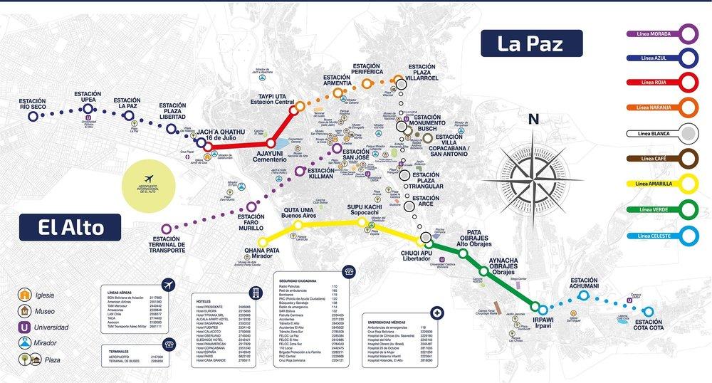 Plánek zachycuje stávající síť tří linek a tečkovaně i trasovánídalších šesti linek, jejichž realizace byla posvěcena příslušným zákonem ze dne 26. ledna 2015. (zdroj:Ministerio de Comunicación del Estado Plurinacional de Bolivia)