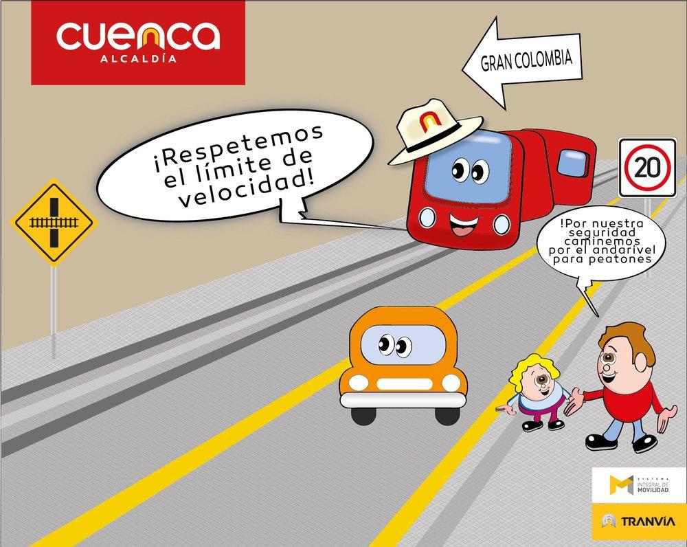 Tramvaj ještěnejezdí a již byla radnicí města spuštěna masivní informačně-výchovná kampaň, která má předejít zbytečným neštěstím. Konkrétně na tomto obrázku tramvaj upozorňuje, že by se mělo dodržovat rychlostní omezení,a rodič dítěti říká, že se v zájmu jejich bezpečnosti budou procházet po chodníku. (foto: Tranvía Cuenca)