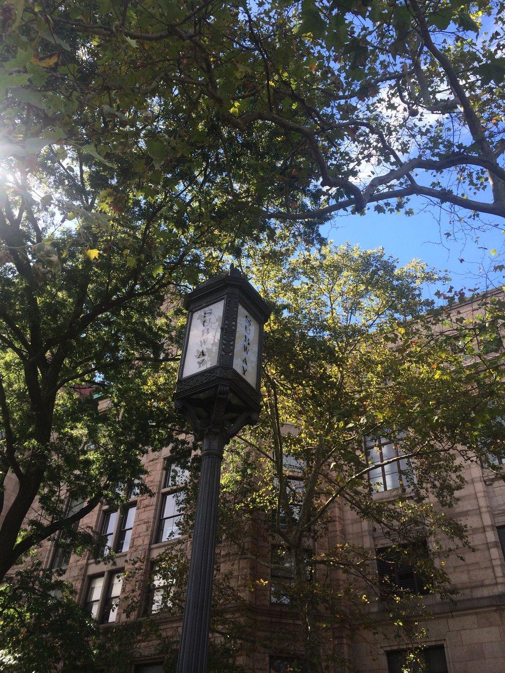 Některé lampy si zachovaly původní historický ráz a žádného přebarvení se nedočkaly, jako například tato v blízkosti Central parku.(foto: Libor Hinčica)