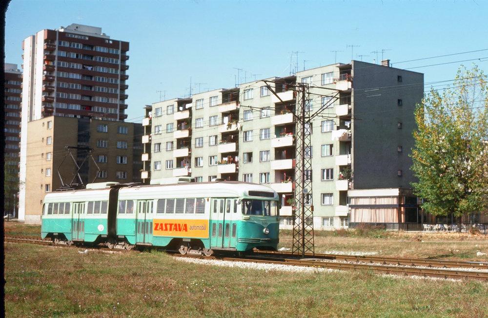 Článková tramvaj postavená na platformě vyřazených vozů PCC z Washingtonu, D.C. na fotografii z 8. 10. 1975. (Sbírka: Jan Čihák)