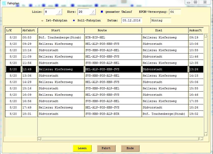Linka 8, kurz 20, pracovní dny. (zdroj: DVB AG)