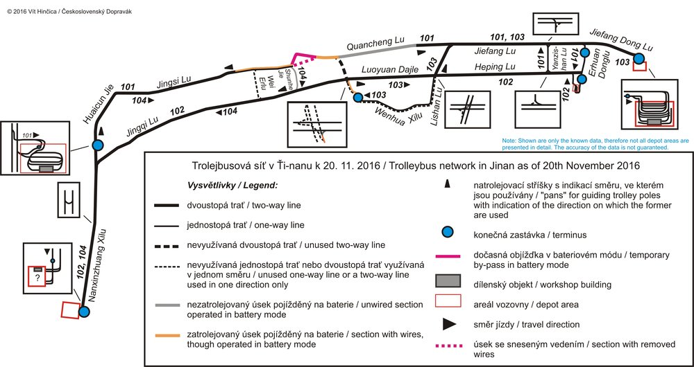 Přiložená mapka zobrazuje situaci v listopadu roce 2016. Nejsou vyznačeny stopy, které byly zřízeny v minulosti a byly již sneseny.