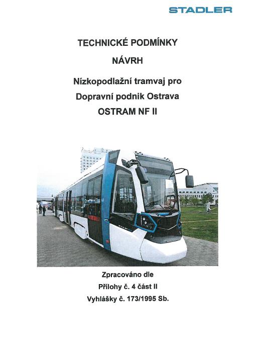 Titulní strana návrhu technických podmínek nových tramvají pro Ostravu.