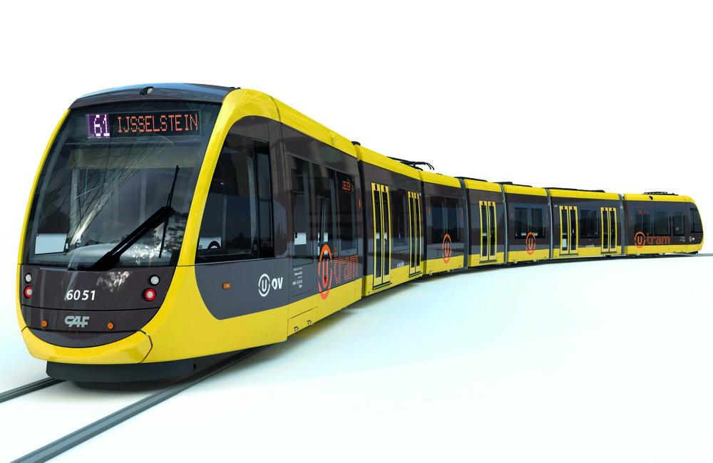 Vizualiazace tramvaje CAF Urbos 3 (Urbos 100) pro Utrecht. (zdroj: CAF)