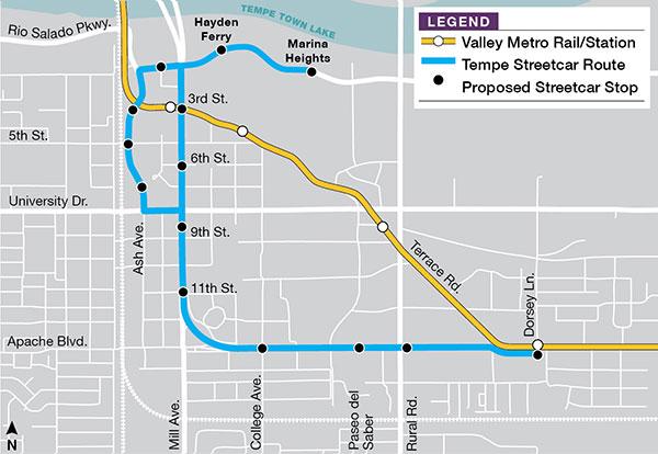 "Navrhovaná tramvajová trať v Tempe (modře) a stávající systém ""Valley Metro"" (žlutě) v oblasti Tempe. (zdroj: Valley Metro)"