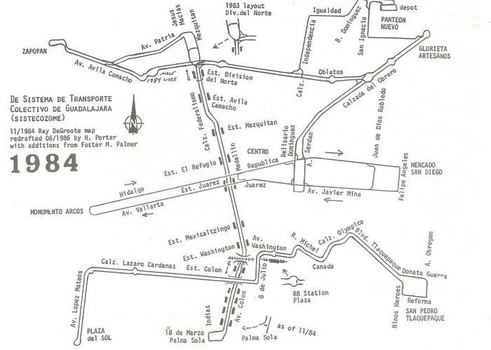 Trolejbusová síť v Guadalajaře v roce 1984. (autoři: Ray DeGroote, H. Porter, Foster M. Palmer)