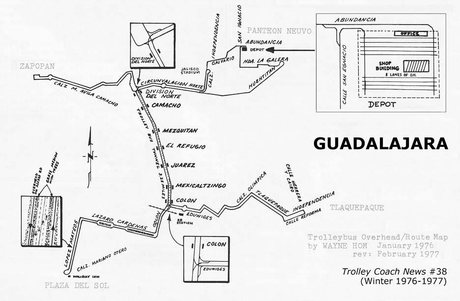Trolejbusová síť v Guadalajaře na přelomu let 1976/77. Zastávky Colón a División del Norte byly povrchové a bezprostředně za nimi následovaly sjezdy do tunelu. (zdroj: Trolley Coach News, č. 38; sbírka Allen Morrison)
