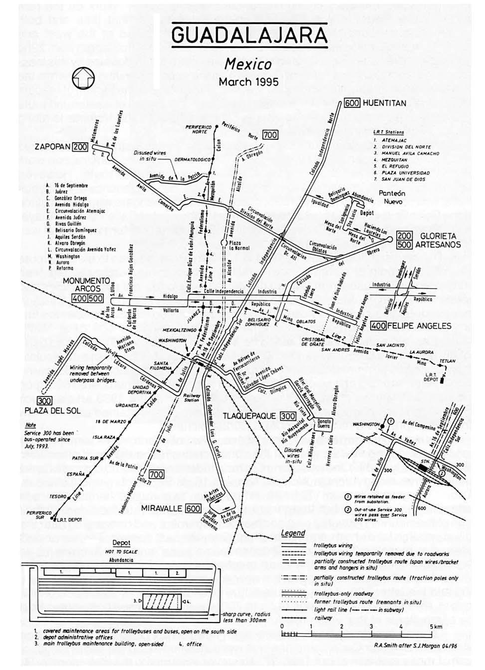 Stav trolejbusové sítě v Guadalajaře v roce 1995. Čárkovaně je zobrazena budovaná a nikdy nedokončená trať pro plánovanou linku 700. (zdroj: Trolleybus Magazine, č. 7-8/1996; sbírka Allen Morrison)