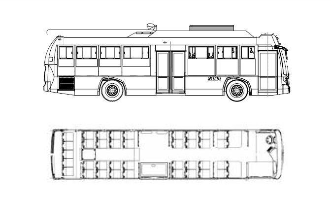 Trolejbus Ridder E na typovém nákresu. Zobrazené vnitřní uspořádánínicméně doznalo u Guadalajary mírných odlišností.(zdroj: DINA Camiones)