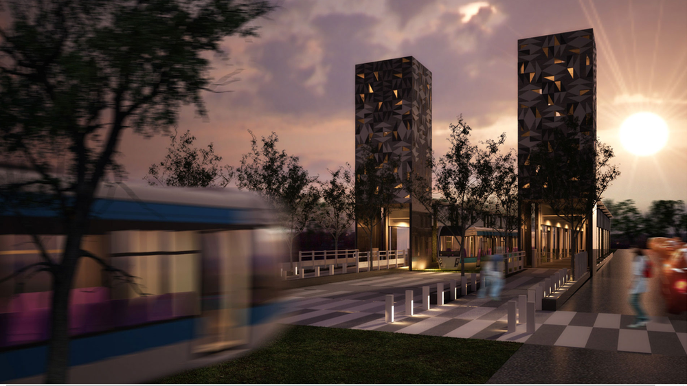 V Guadalajaře se momentálně staví třetí linka lehkého metra a realizuje se i krátké prodlouženílinky č. 1, pro které se hledalo vhodnéarchitektonicko-urbanistické řešení. Jeden z nápadů na novou zastávku počítal například s takovouto atraktivní podobou. (zdroj: archiv Ayuntamiento de Guadalajara)