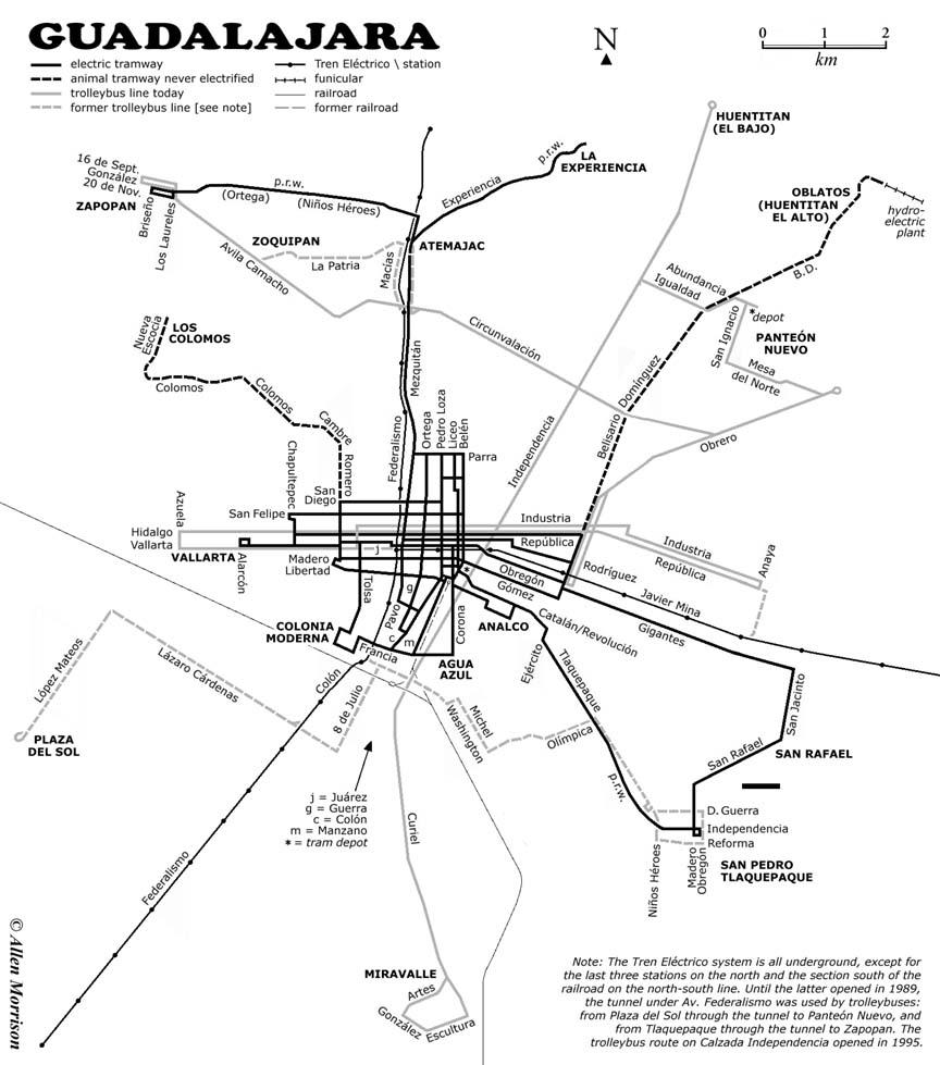 Na mapce z roku 2003 jsou zachyceny jednak funkčnítrolejbusovétratě(šedá čára) a jednak zrušené trolejbusové tratě (šedá čárkovaná čára). Vyznačeny jsou však i linky č. 1 a 2 lehkého metra (tenká černá čára), zrušené tratě elektrických tramvají (černáčára) i zrušené tratě nikdy neelektrizovaných animálních tramvají (černá čárkovanáčára). Za pozornost stojí i vyznačená pozemní lanová dráha šplhající se po svahu kaňonu Huentitán (Barranca de Huentitán)k vodní elektrárně. Její poněkud kurióznípodobu možno zhlédnout zde. Roku 2013 otevřeli v místní ZOO i sedačkovou lanovou dráhu o délce 700 m. Tato turistická atrakce s nádhernými výhledy do okolíse nachází od pozemní lanové dráhy relativně nedaleko, jmenovitěmezi čtvrtěmi Huentitán El Bajo a Huentitán El Alto.(autor: Allen Morrison)