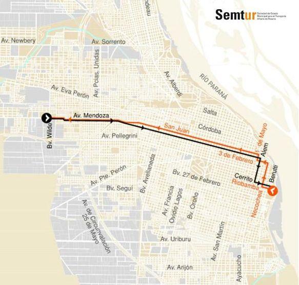Stávající trolejbusová síť v Rosariu. (zdroj: Semtur)