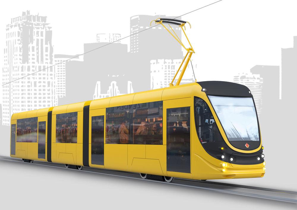 Návrh nové částečně nízkopodlažní (70 %) tramvaje Tatra-Jug typu K1M6 představuje snahu výrobce o produkci moderních vozidel. Podoba dvoučlánkových vozidel pro Alexandrii ovšem nebyla prozatím zveřejněna. Dlouhá mají být 22 m a na rozdíl od vozidla na vizualizaci nebudou nízkopodlažní. (zdroj: Tatra-Jug)