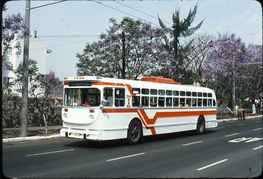 Trolejbus na severozápadě města, jmenovitě na třídě Manuel Ávila Camacho, dne 4. 11. 1977.(zdroj: kolekce Stephena Scalza / Scalzo Collection)