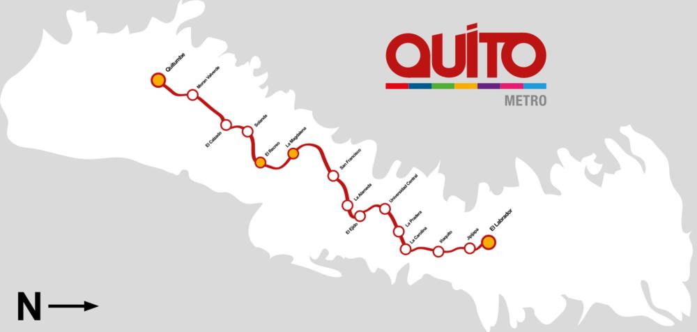 Trasa první linky. Orientace je otočená, kdyžjih je vlevo a sever vpravo. (zdroj: Municipio del Distrito Metropolitano de Quito / Wikipedia.org)