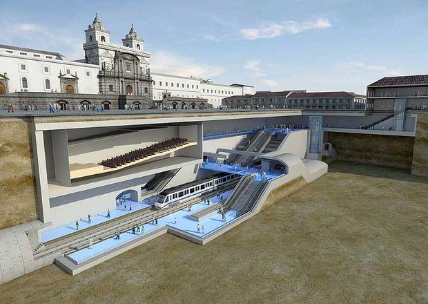 Vizualizace stanice pod historickým náměstím Plaza de San Francisco. Tunel metra bude zpravidla v hloubkách od 16 do 25 m. (zdroj: Metro de Quito)