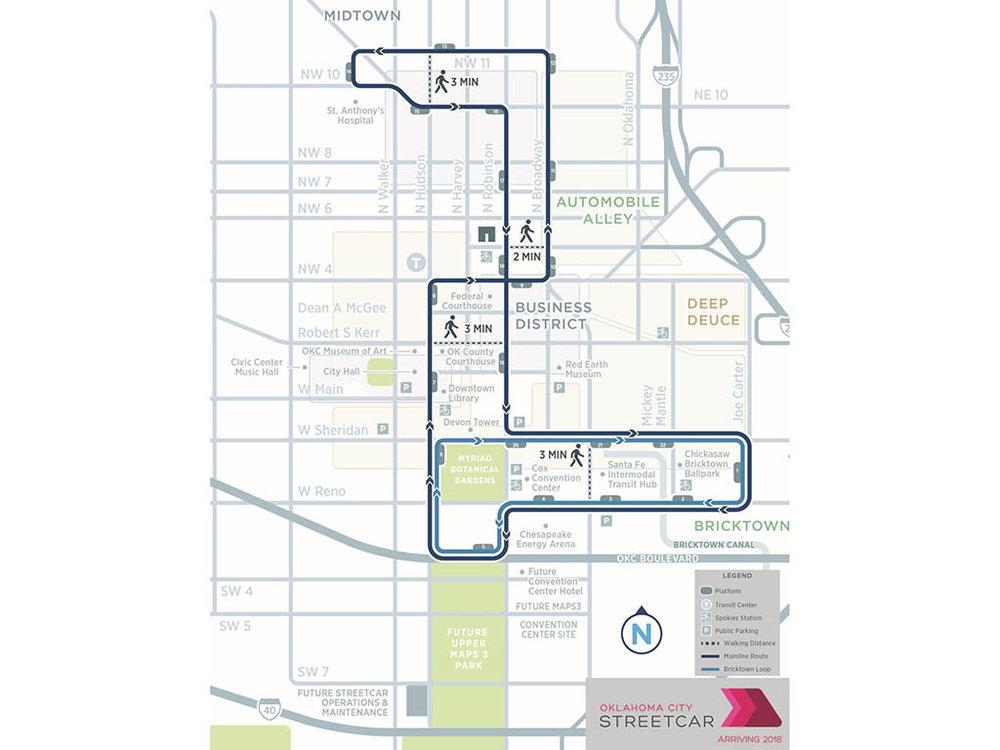 První fáze výstavby tramvajového systému by měla zahrnovat dvě linky. (zdroj: okc.gov)
