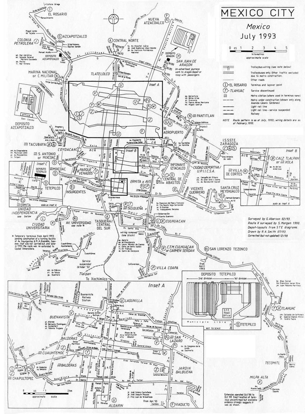 Takto hustá byla trolejbusová síť v hlavním městě ještě v roce 1993.(autor: R. A. Smith; sbírka Allena Morrisona)