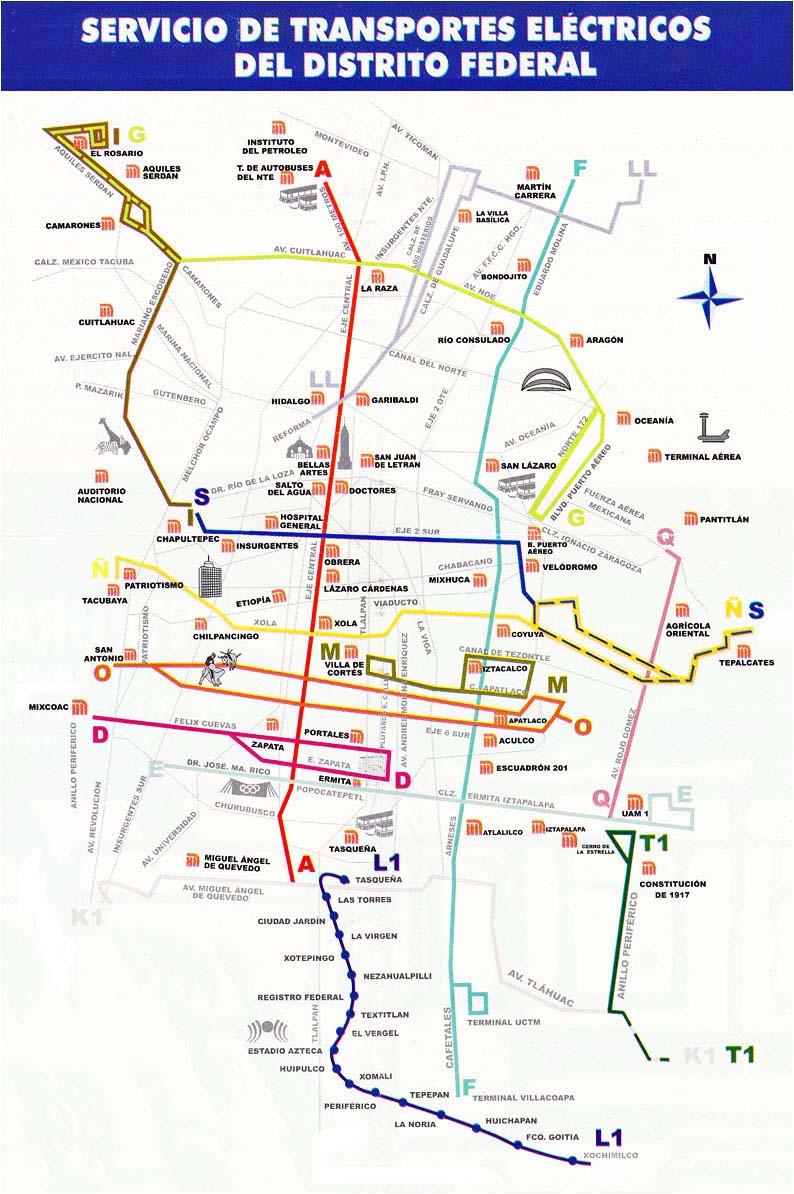 Trolejbusová síť v Ciudad de México na přelomu staletí. Linka L1 je zatím jedinou linkou lehkého metra, kterábyla otevřena roku 1986, a to na pozůstatcích tramvajové trati otevřené v roce 1910. (zdroj: sbírka Allena Morrisona)